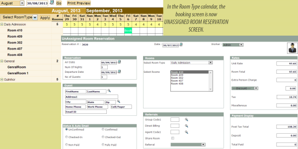 Easy Innkeeping Software - Temp Room Type Booking