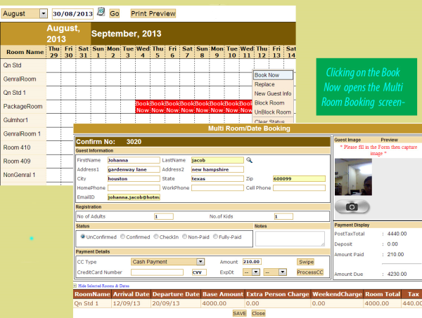 easy innkeeping software - multiple room booking