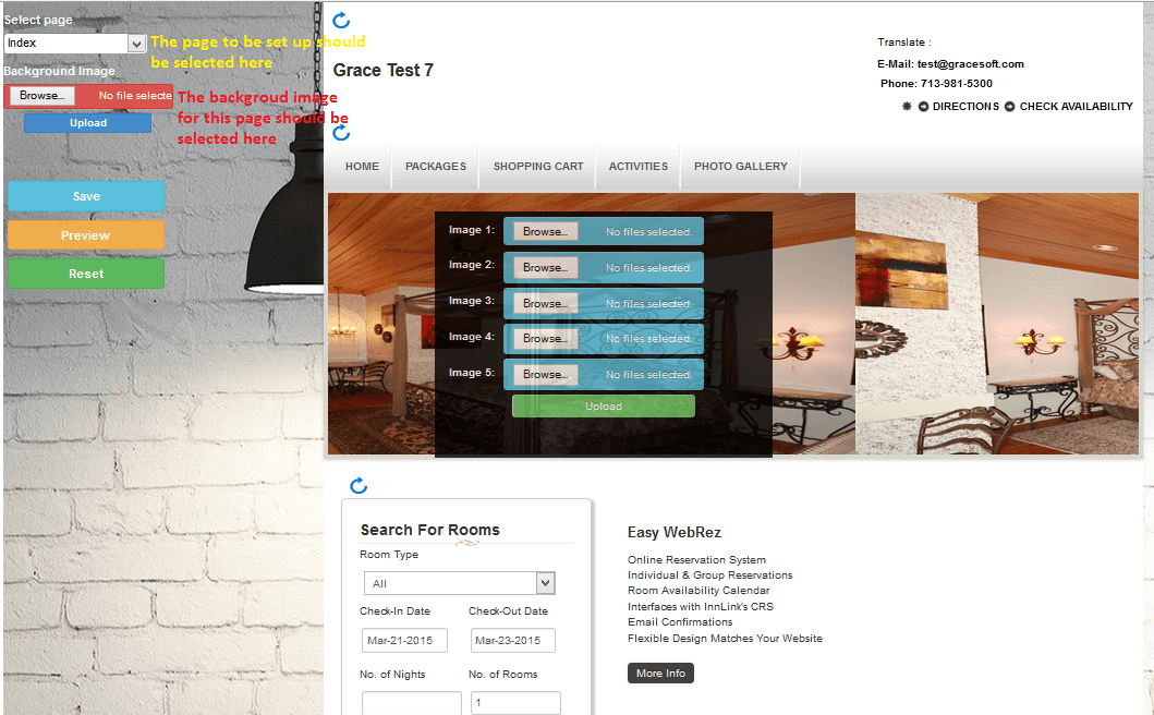 gracesoft - easy innkeeping page design new feature