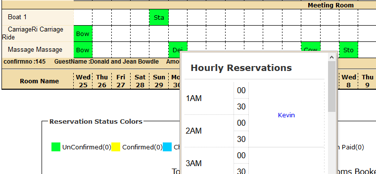 hourly reservation from monthly calendar - new feature
