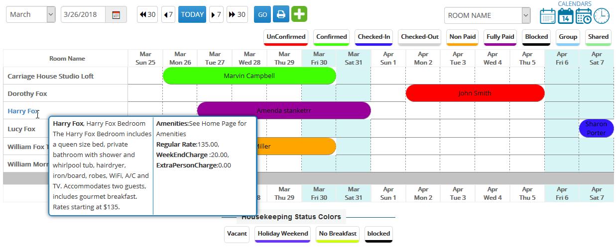 EasyInnkeeping Front Office Monthly Calendar