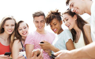 digital native friends with mobile phones