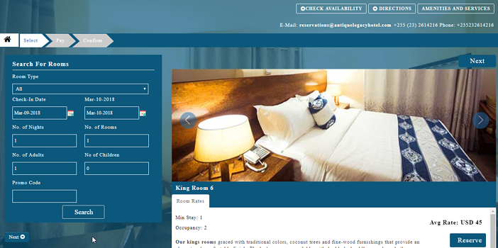 EasyInnkeeping Twenty Templates - Online Booking Engine