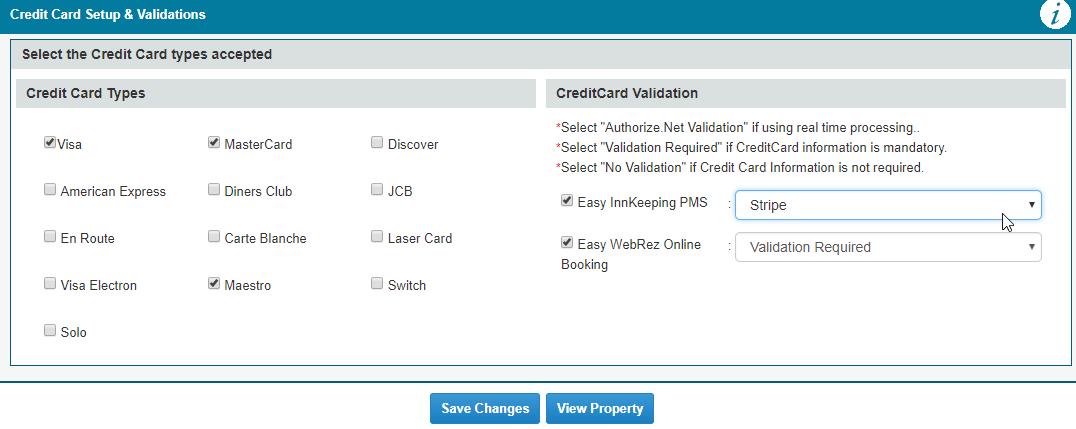 Credit Card Setup & Validation - EasyInnkeeping