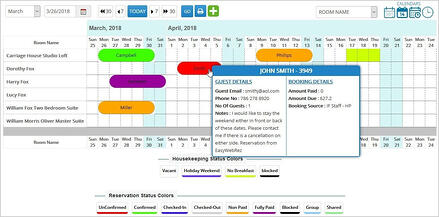 Hotel reservation management calendar