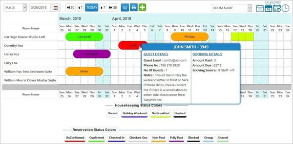 Hotel reservation management calendar
