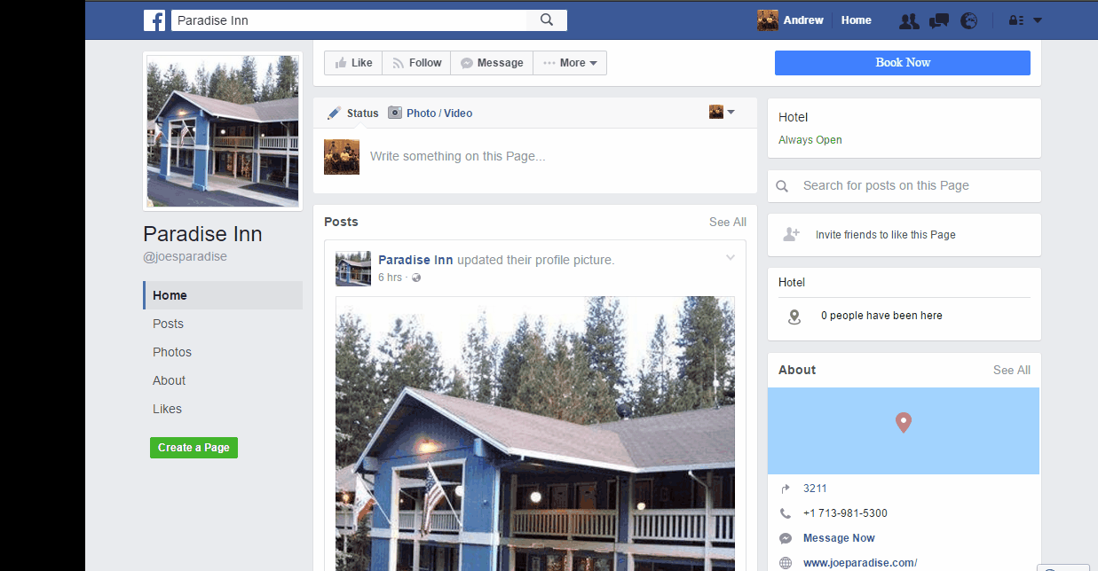 facebook booking page for hotels and inns