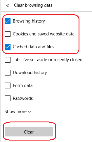 how to clear browsing history and cache in Microsoft browser