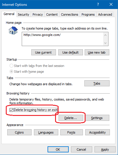 how to delete browsing history on internet explored