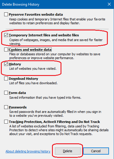 clear temporary internet files on Internet explorer