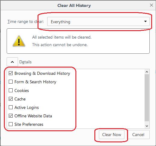 how to clear all history and cache in firefox