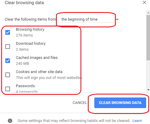clear browsing history and cache images and files in google chrome