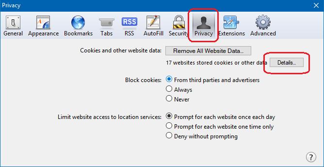 block or allow cookies on safari browser